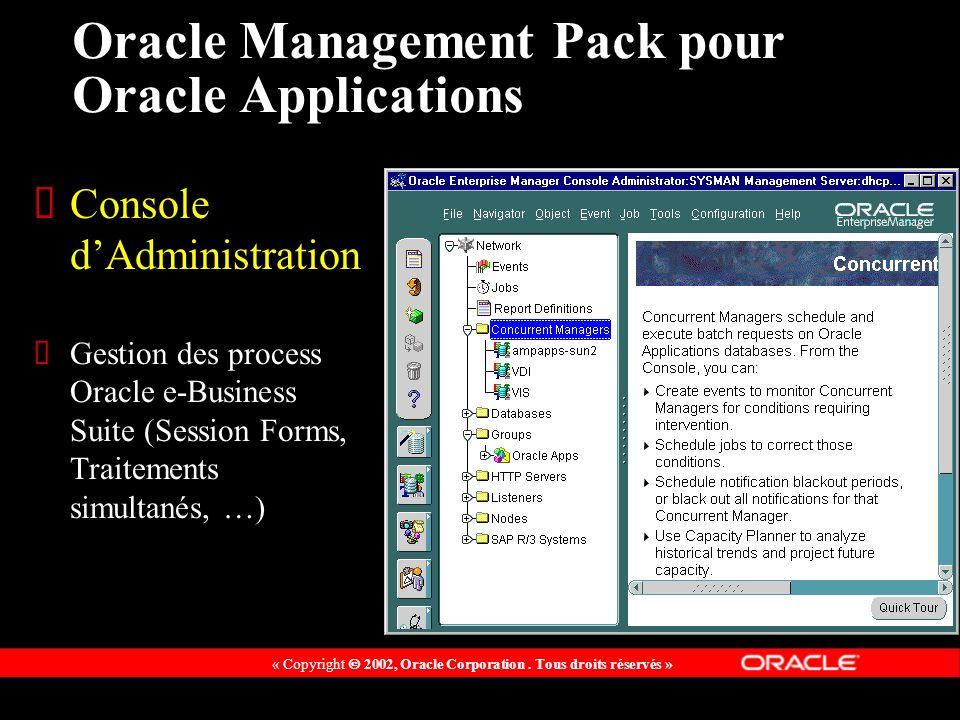 « Copyright 2002, Oracle Corporation. Tous droits réservés » Oracle Management Pack pour Oracle Applications Console dAdministration Gestion des proce
