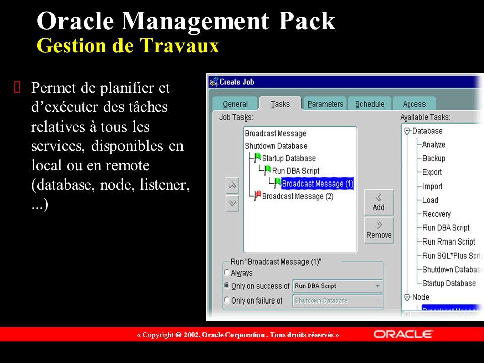 « Copyright 2002, Oracle Corporation. Tous droits réservés » Oracle Management Pack Gestion de Travaux Permet de planifier et dexécuter des tâches rel