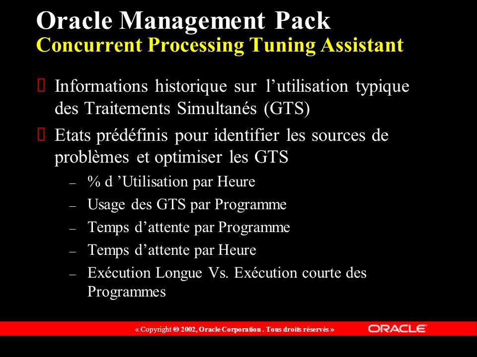 « Copyright 2002, Oracle Corporation. Tous droits réservés » Oracle Management Pack Concurrent Processing Tuning Assistant Informations historique sur