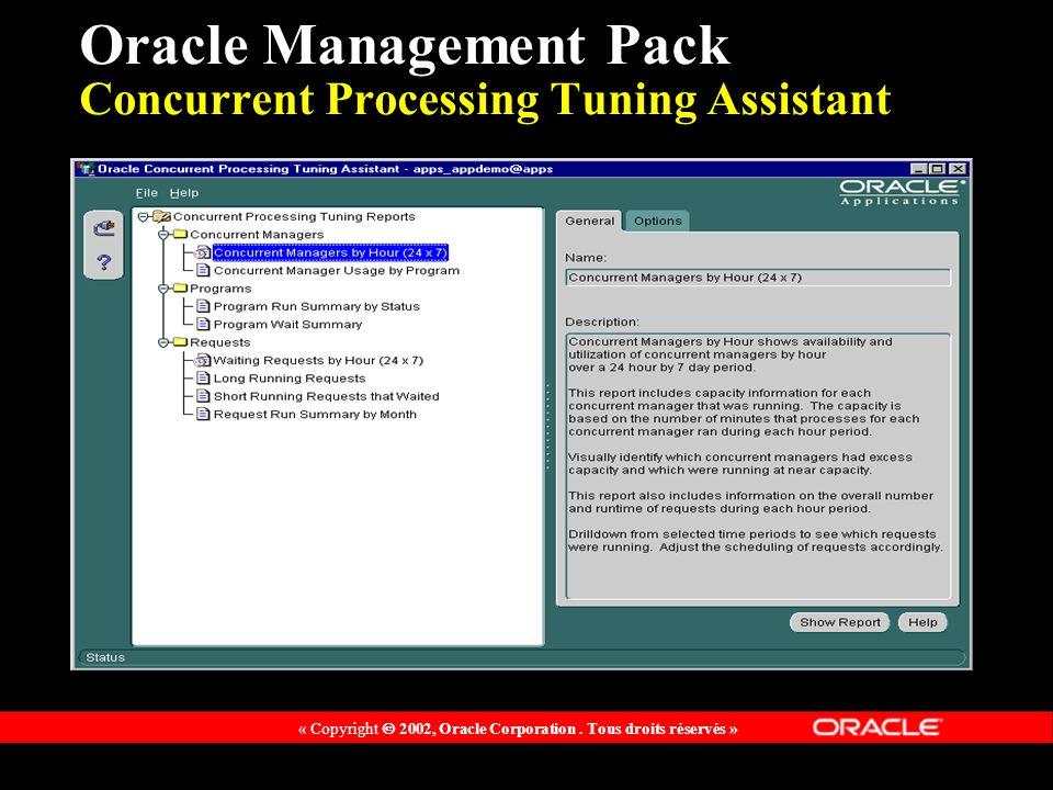 « Copyright 2002, Oracle Corporation. Tous droits réservés » Oracle Management Pack Concurrent Processing Tuning Assistant