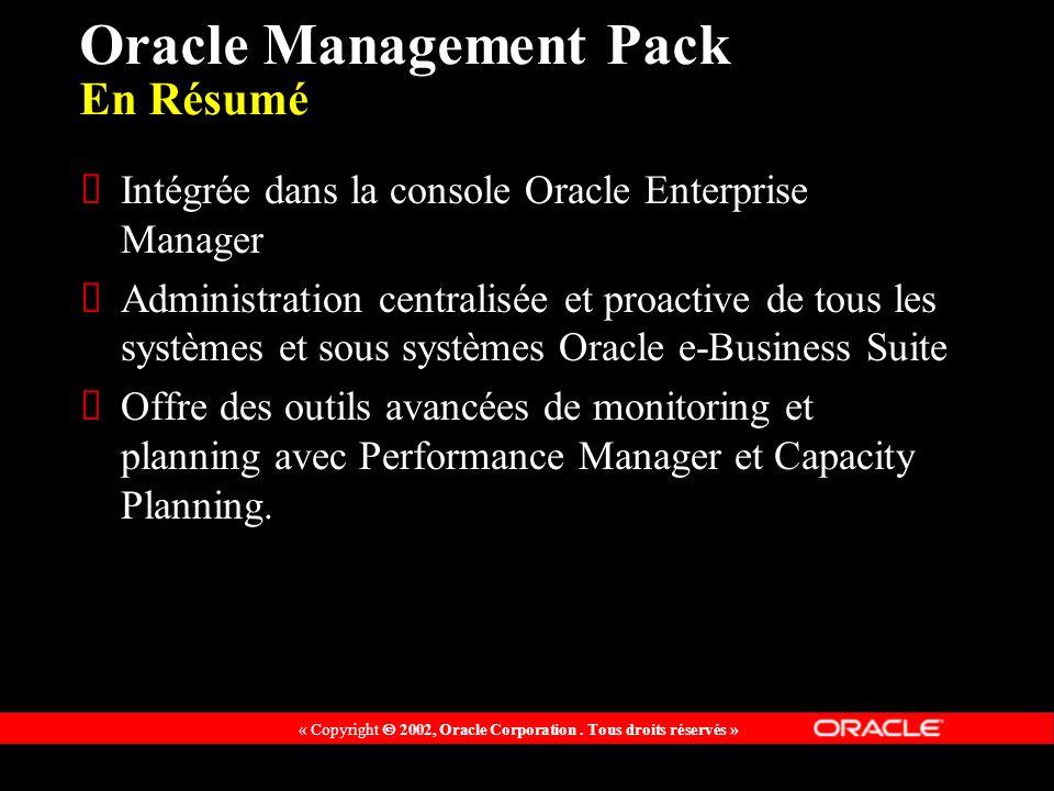 « Copyright 2002, Oracle Corporation. Tous droits réservés » Oracle Management Pack En Résumé Intégrée dans la console Oracle Enterprise Manager Admin