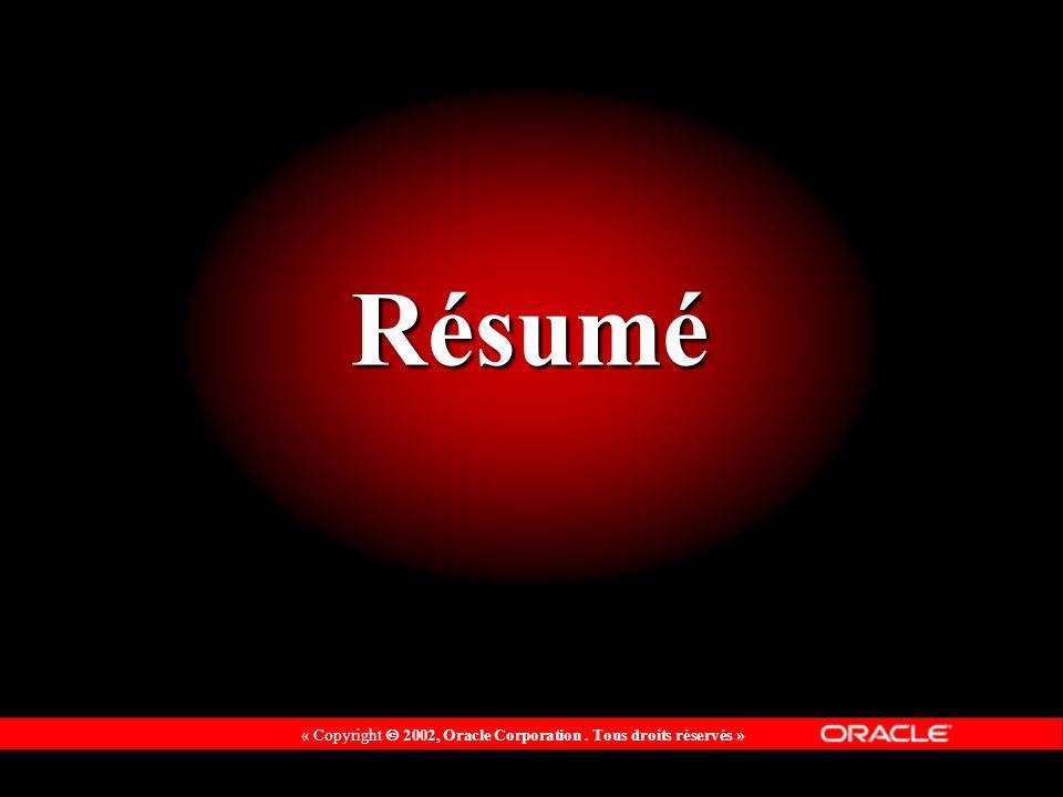 « Copyright 2002, Oracle Corporation. Tous droits réservés » Résumé