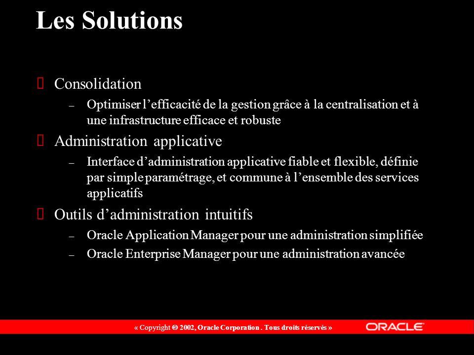 « Copyright 2002, Oracle Corporation. Tous droits réservés » Les Solutions Consolidation – Optimiser lefficacité de la gestion grâce à la centralisati