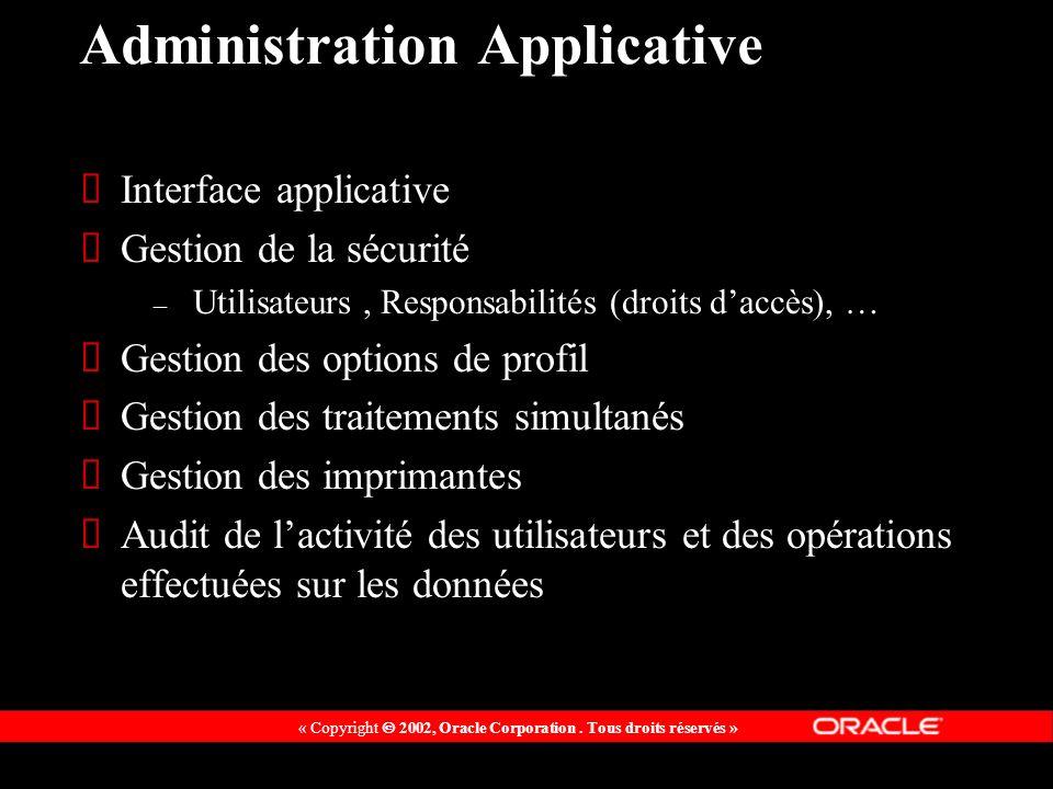 « Copyright 2002, Oracle Corporation. Tous droits réservés » Administration Applicative Interface applicative Gestion de la sécurité – Utilisateurs, R