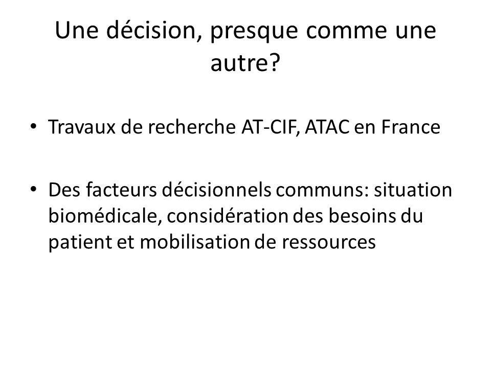 Une décision, presque comme une autre? Travaux de recherche AT-CIF, ATAC en France Des facteurs décisionnels communs: situation biomédicale, considéra
