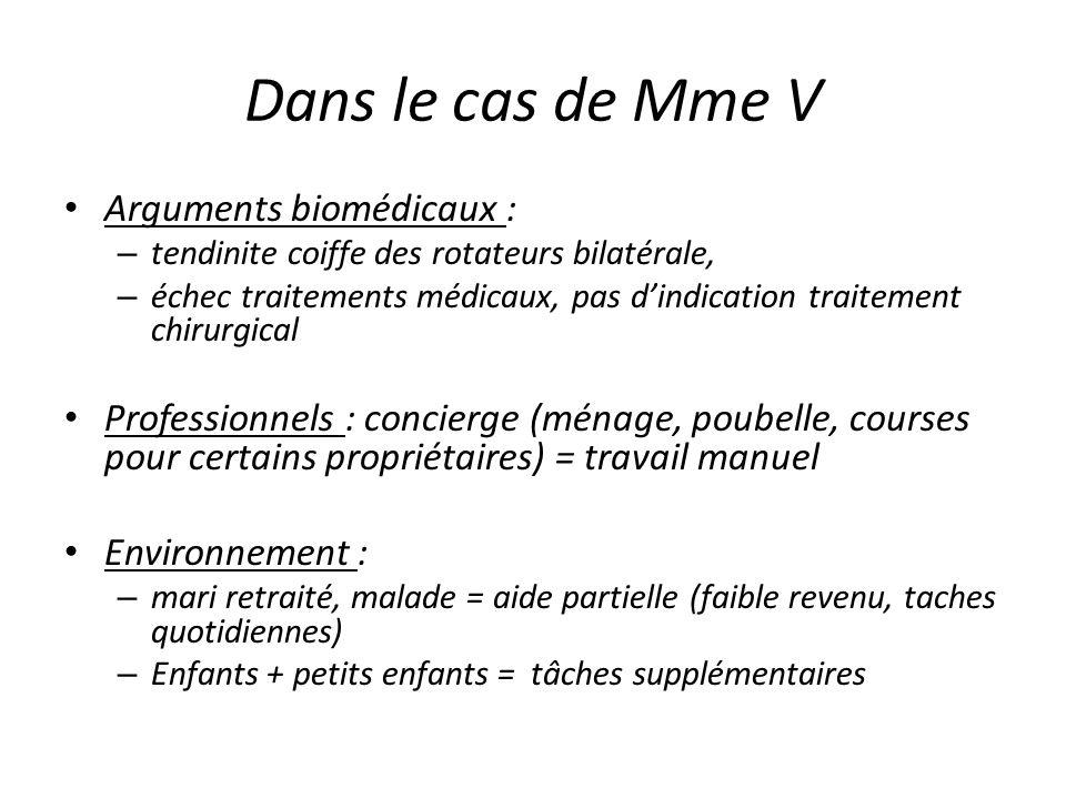 Dans le cas de Mme V Arguments biomédicaux : – tendinite coiffe des rotateurs bilatérale, – échec traitements médicaux, pas dindication traitement chi