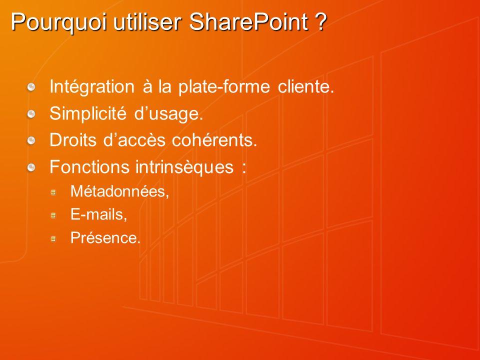Pourquoi utiliser SharePoint . Intégration à la plate-forme cliente.