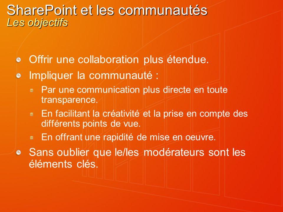 SharePoint et les communautés Les objectifs Offrir une collaboration plus étendue.