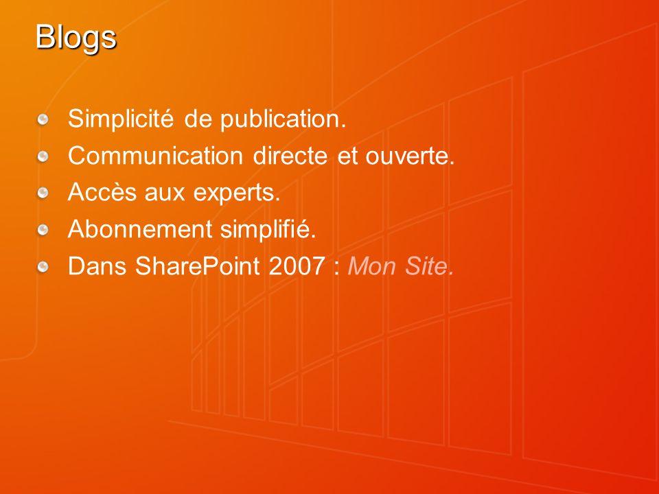 Blogs Simplicité de publication. Communication directe et ouverte.