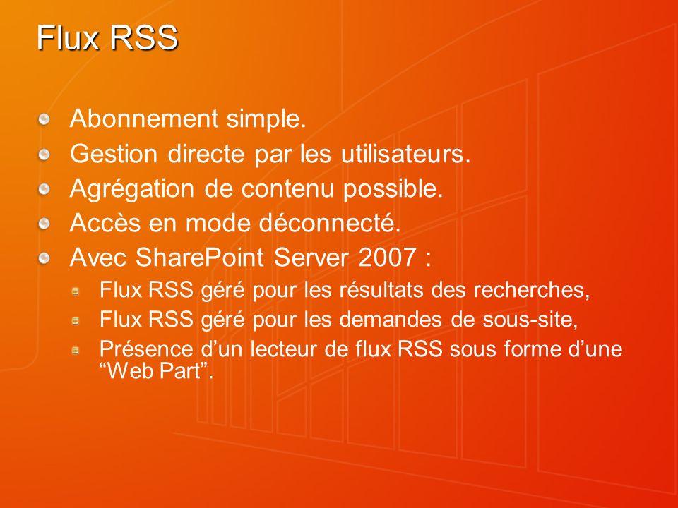 Flux RSS Abonnement simple. Gestion directe par les utilisateurs.