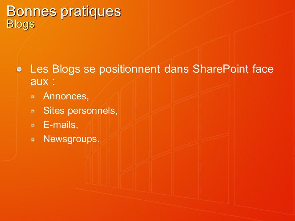 Bonnes pratiques Blogs Les Blogs se positionnent dans SharePoint face aux : Annonces, Sites personnels, E-mails, Newsgroups.