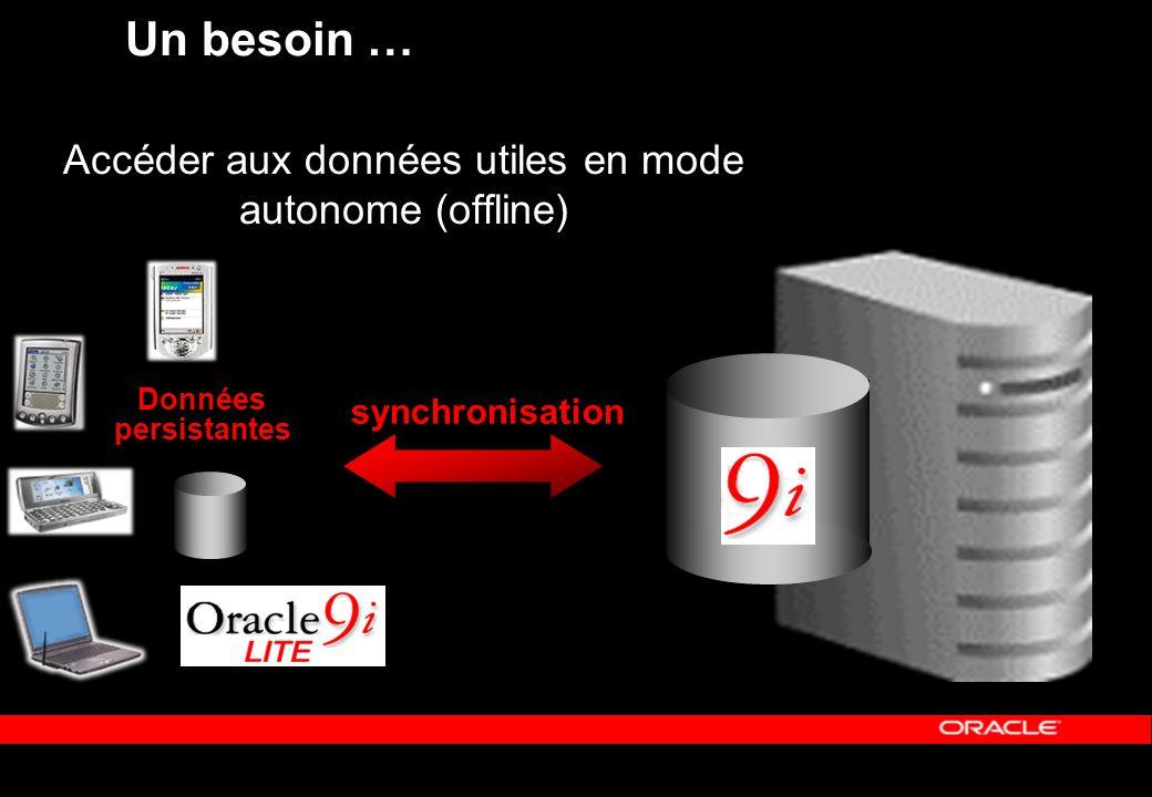Un besoin … Accéder aux données utiles en mode autonome (offline) synchronisation Données persistantes