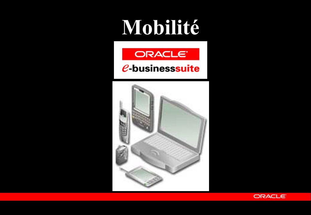 Architecture Mobile pour le-Business WAP Phone WML Réseau Sans fil Oracle9iAS Wireless Réseau1 Seule Base de Données Globale PDA HTML Mobile Phone SMS Laptop Local Store Device Gateways WAP, SMS, Voice, etc Réseau Voice VoiceXML Industrial RF