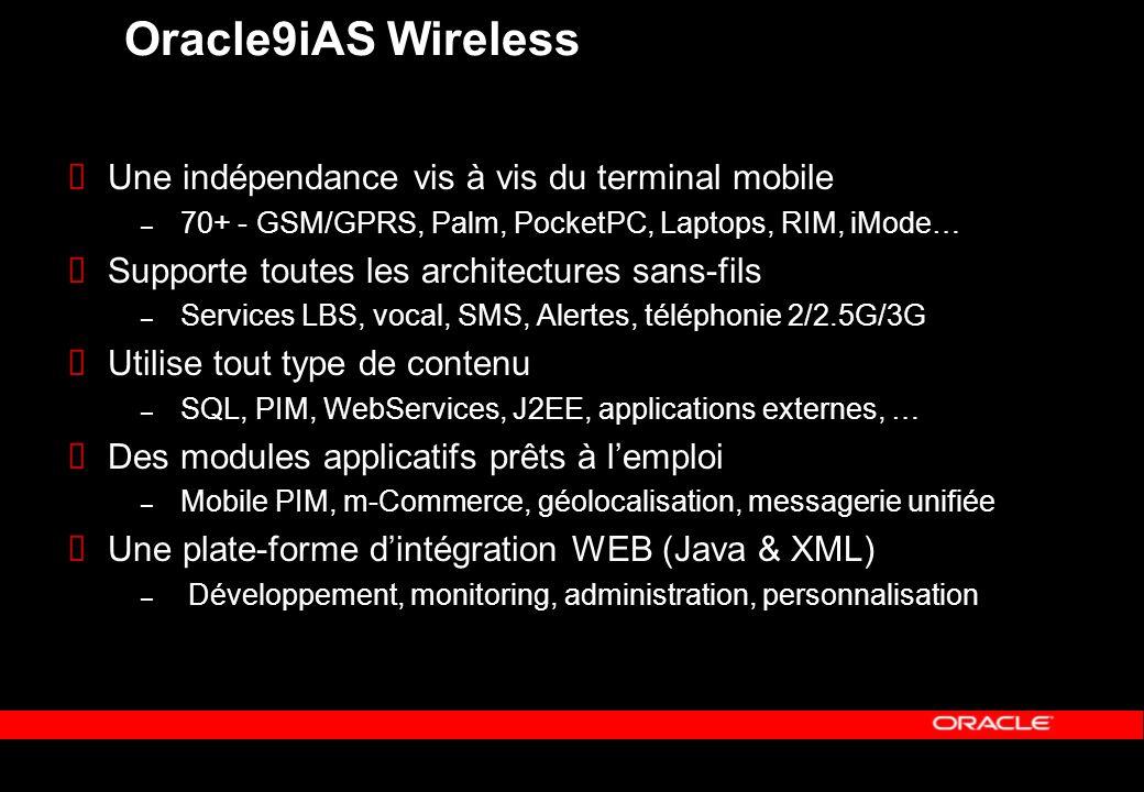 Oracle9iAS Wireless Une indépendance vis à vis du terminal mobile – 70+ - GSM/GPRS, Palm, PocketPC, Laptops, RIM, iMode… Supporte toutes les architect