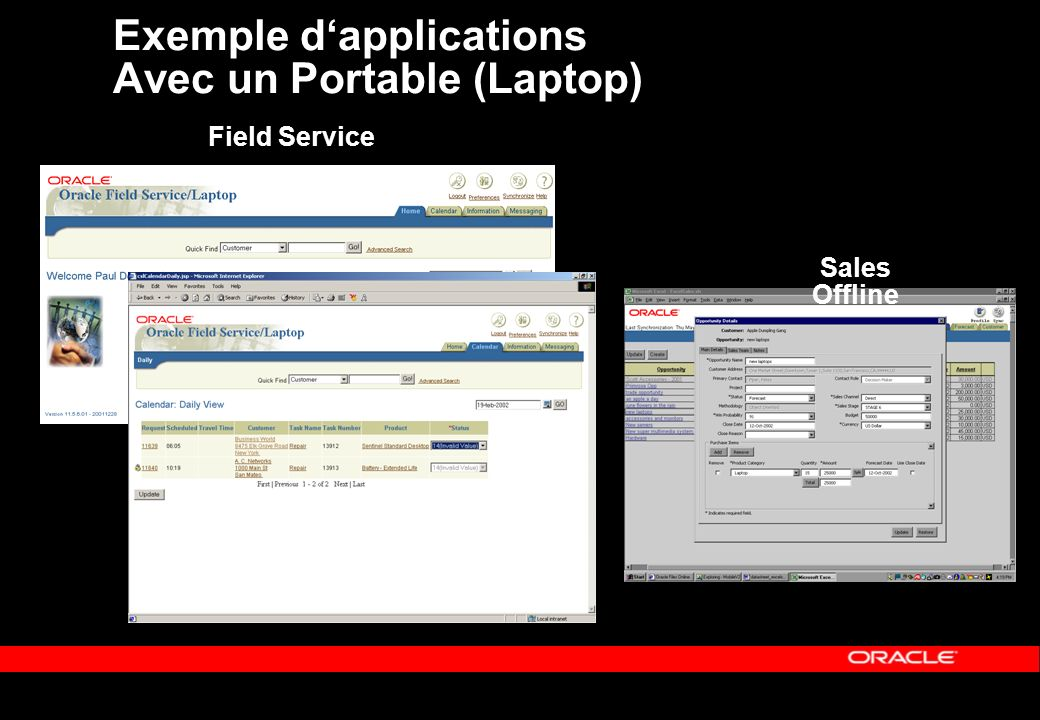 Exemple dapplications Avec un Portable (Laptop) Field Service Sales Offline