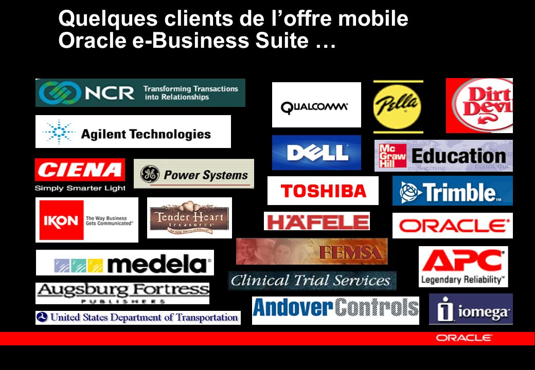 Quelques clients de loffre mobile Oracle e-Business Suite …
