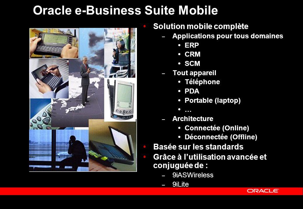 Oracle e-Business Suite Mobile Solution mobile complète – Applications pour tous domaines ERP CRM SCM – Tout appareil Téléphone PDA Portable (laptop)