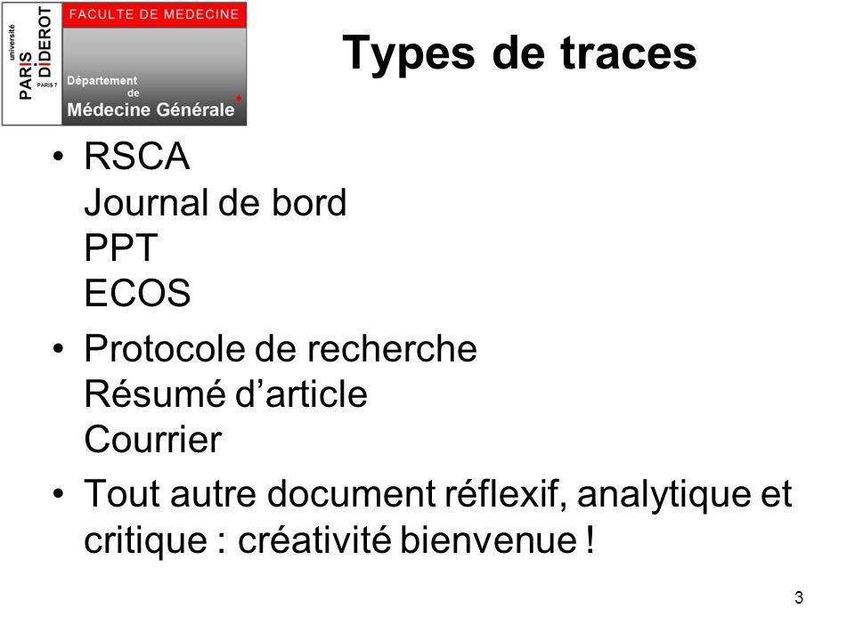 3 Types de traces RSCA Journal de bord PPT ECOS Protocole de recherche Résumé darticle Courrier Tout autre document réflexif, analytique et critique :