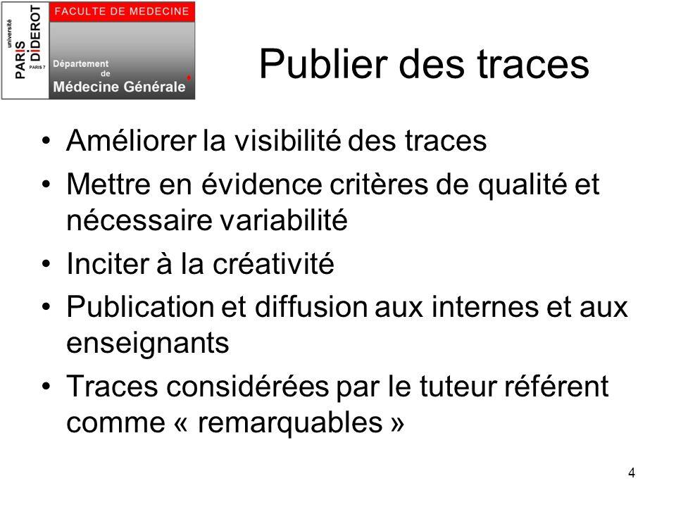 4 Publier des traces Améliorer la visibilité des traces Mettre en évidence critères de qualité et nécessaire variabilité Inciter à la créativité Publi