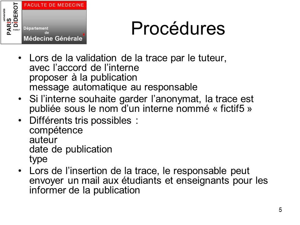 5 Procédures Lors de la validation de la trace par le tuteur, avec laccord de linterne proposer à la publication message automatique au responsable Si