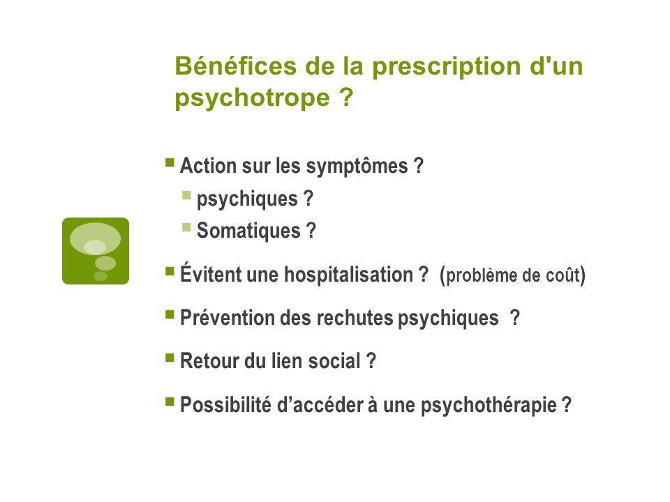 Risques de la prescription d un psychotrope .Effets secondaires .