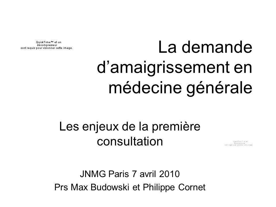 La demande damaigrissement en médecine générale Les enjeux de la première consultation JNMG Paris 7 avril 2010 Prs Max Budowski et Philippe Cornet