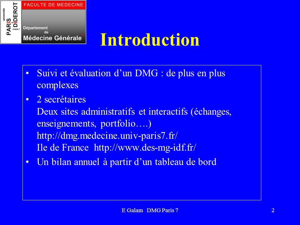 E Galam DMG Paris 72 Introduction Suivi et évaluation dun DMG : de plus en plus complexes 2 secrétaires Deux sites administratifs et interactifs (écha