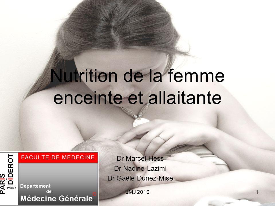 Nutrition de la femme enceinte et allaitante Dr Marcel Hess Dr Nadine Lazimi Dr Gaële Duriez-Mise 1JMJ 2010