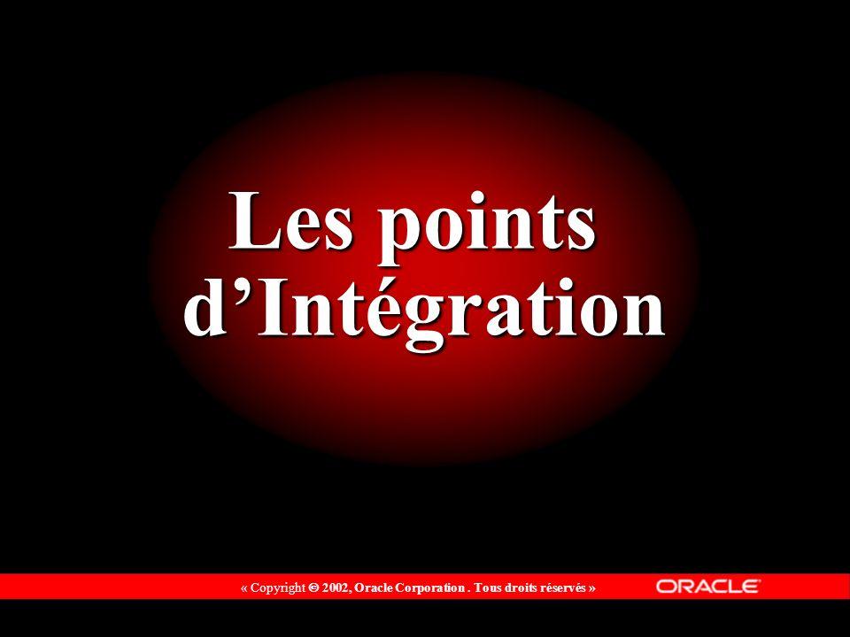 « Copyright 2002, Oracle Corporation. Tous droits réservés » Les points dIntégration