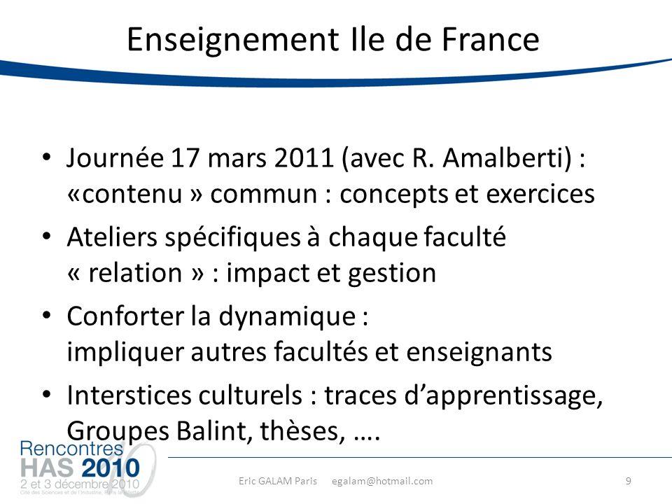 Eric GALAM Paris egalam@hotmail.com Enseignement Ile de France Journée 17 mars 2011 (avec R.