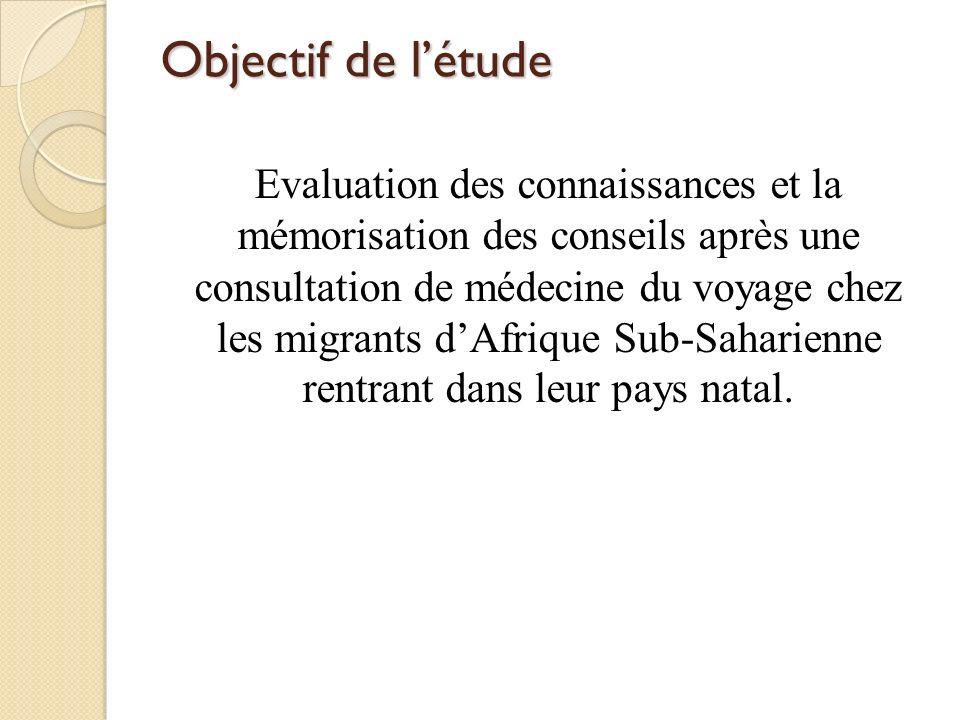 Objectif de létude Evaluation des connaissances et la mémorisation des conseils après une consultation de médecine du voyage chez les migrants dAfriqu