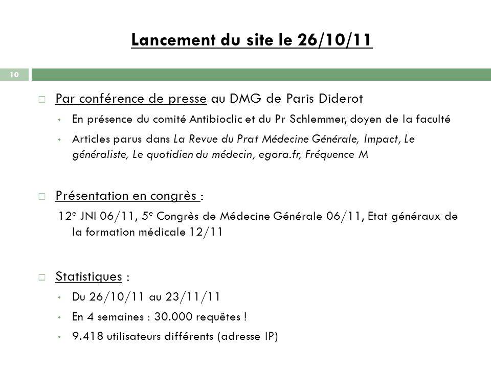 Lancement du site le 26/10/11 10 Par conférence de presse au DMG de Paris Diderot En présence du comité Antibioclic et du Pr Schlemmer, doyen de la fa