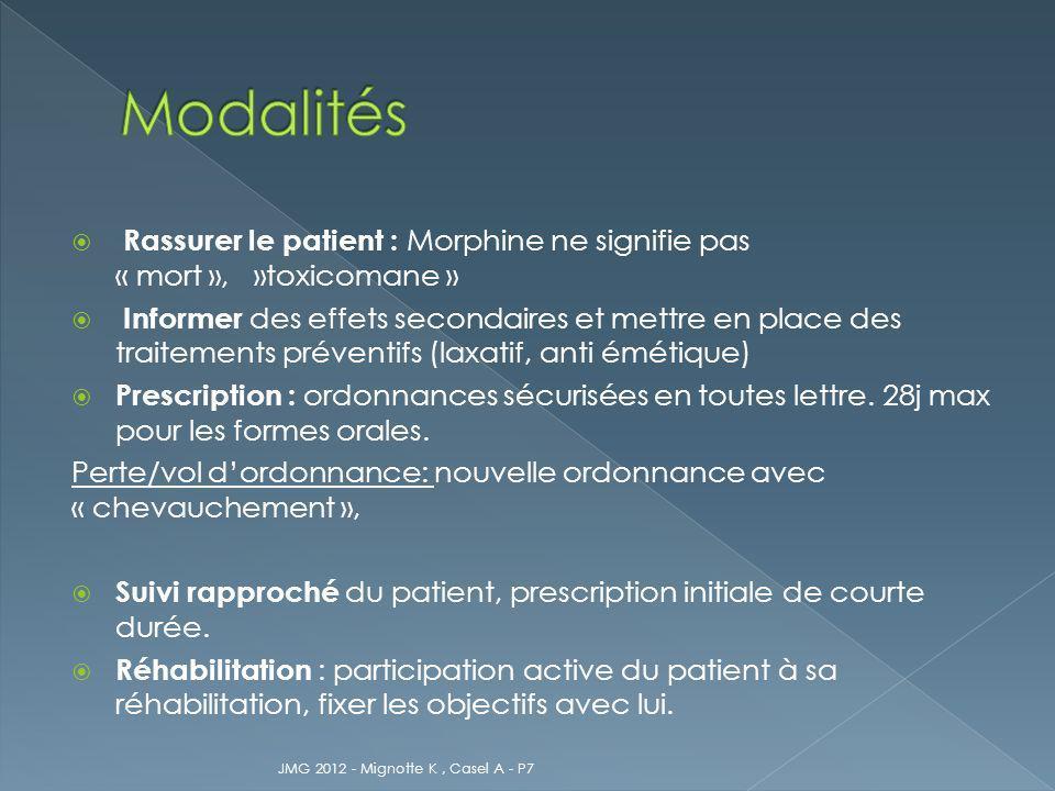 Rassurer le patient : Morphine ne signifie pas « mort », »toxicomane » Informer des effets secondaires et mettre en place des traitements préventifs (