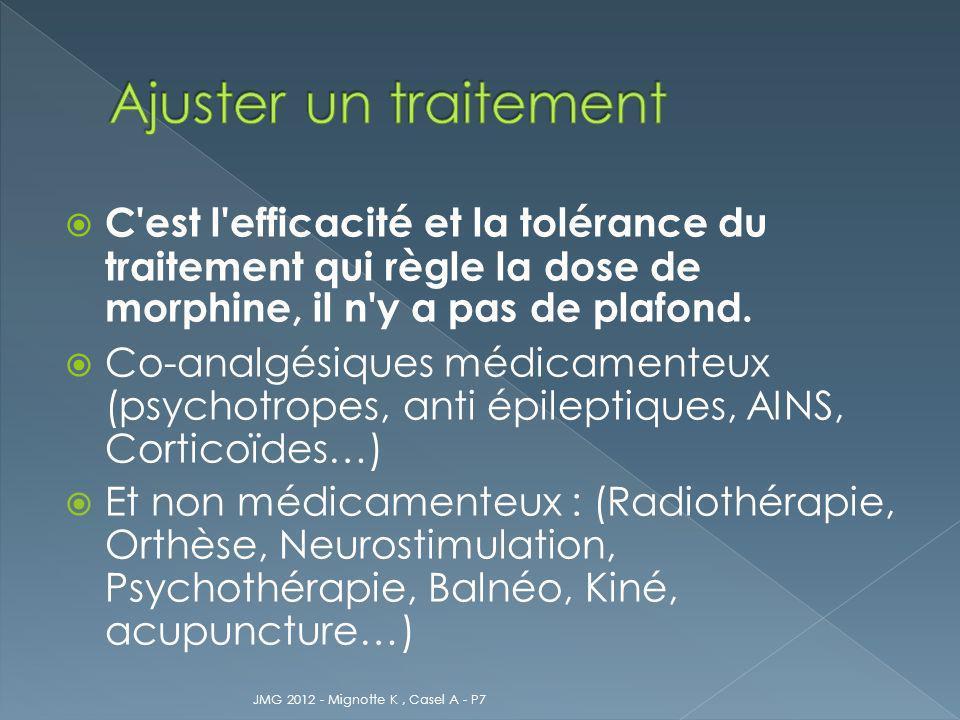 C'est l'efficacité et la tolérance du traitement qui règle la dose de morphine, il n'y a pas de plafond. Co-analgésiques médicamenteux (psychotropes,