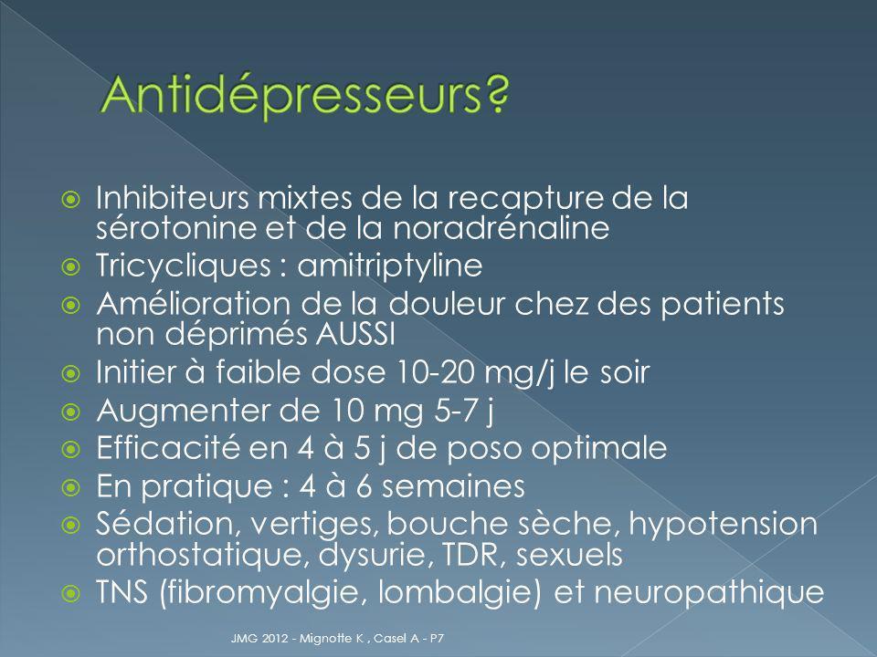 Inhibiteurs mixtes de la recapture de la sérotonine et de la noradrénaline Tricycliques : amitriptyline Amélioration de la douleur chez des patients n