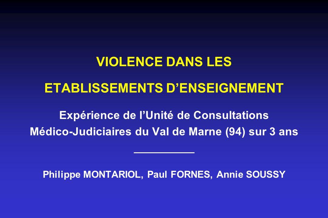 VIOLENCE DANS LES ETABLISSEMENTS DENSEIGNEMENT Expérience de lUnité de Consultations Médico-Judiciaires du Val de Marne (94) sur 3 ans Philippe MONTAR