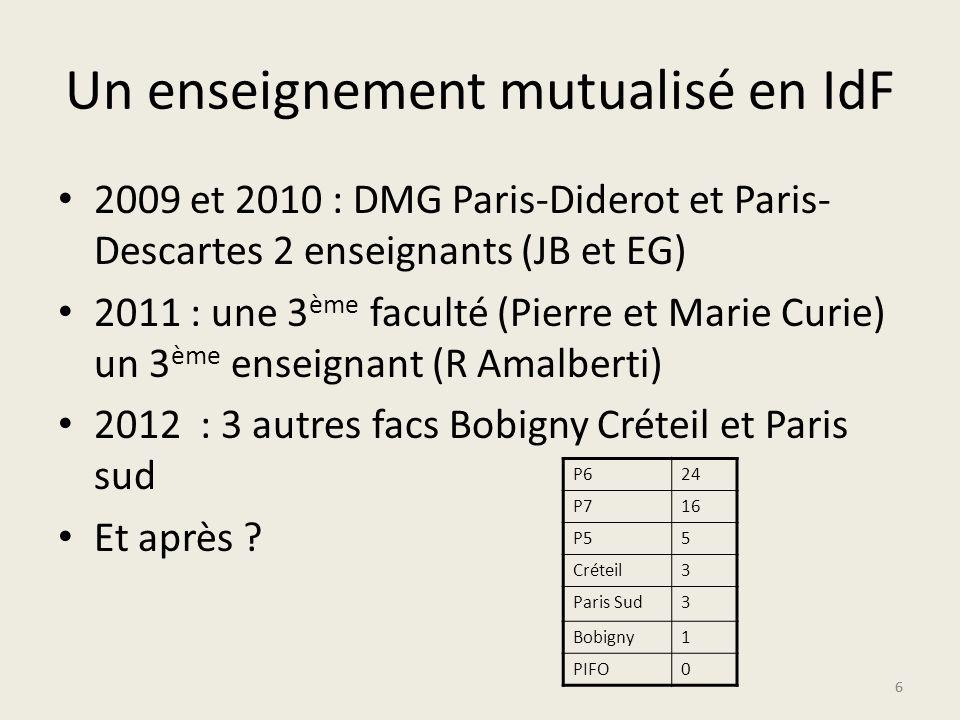 66 Un enseignement mutualisé en IdF 2009 et 2010 : DMG Paris-Diderot et Paris- Descartes 2 enseignants (JB et EG) 2011 : une 3 ème faculté (Pierre et Marie Curie) un 3 ème enseignant (R Amalberti) 2012 : 3 autres facs Bobigny Créteil et Paris sud Et après .