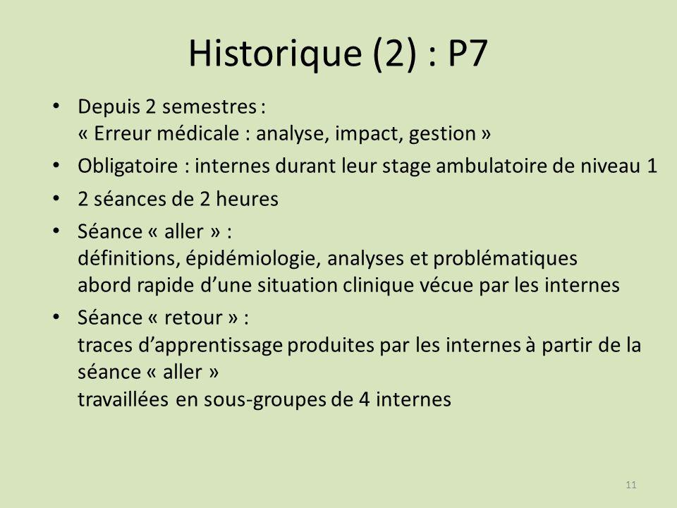 Historique (2) : P7 Depuis 2 semestres : « Erreur médicale : analyse, impact, gestion » Obligatoire : internes durant leur stage ambulatoire de niveau