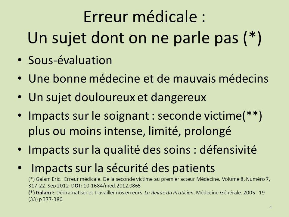4 Erreur médicale : Un sujet dont on ne parle pas (*) Sous-évaluation Une bonne médecine et de mauvais médecins Un sujet douloureux et dangereux Impac