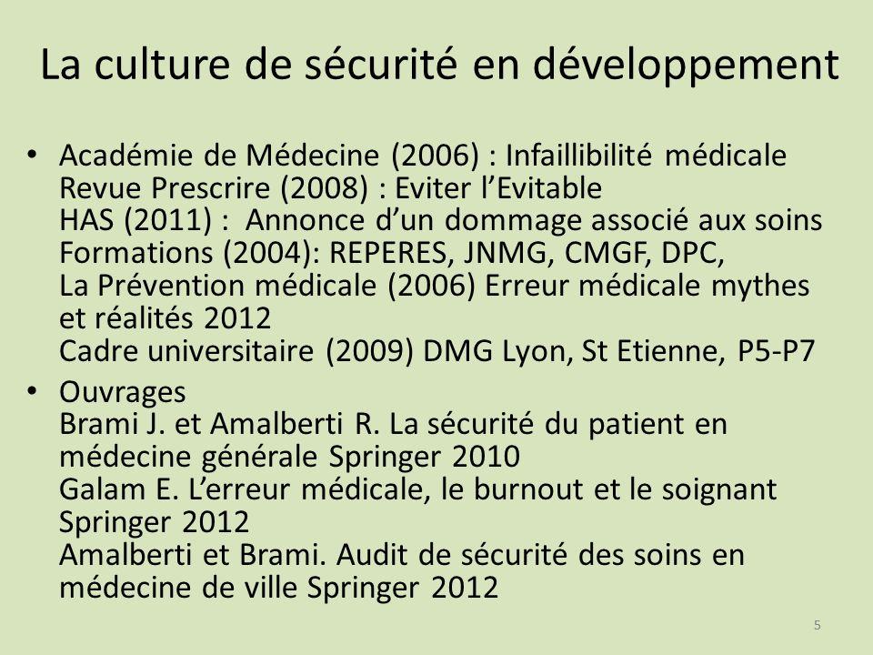 55 La culture de sécurité en développement Académie de Médecine (2006) : Infaillibilité médicale Revue Prescrire (2008) : Eviter lEvitable HAS (2011)