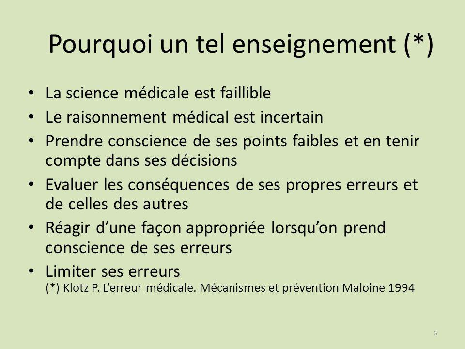 6 Pourquoi un tel enseignement (*) La science médicale est faillible Le raisonnement médical est incertain Prendre conscience de ses points faibles et