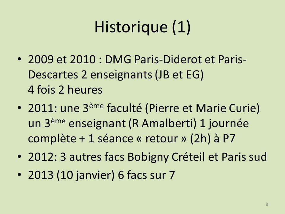 88 Historique (1) 2009 et 2010 : DMG Paris-Diderot et Paris- Descartes 2 enseignants (JB et EG) 4 fois 2 heures 2011: une 3 ème faculté (Pierre et Mar