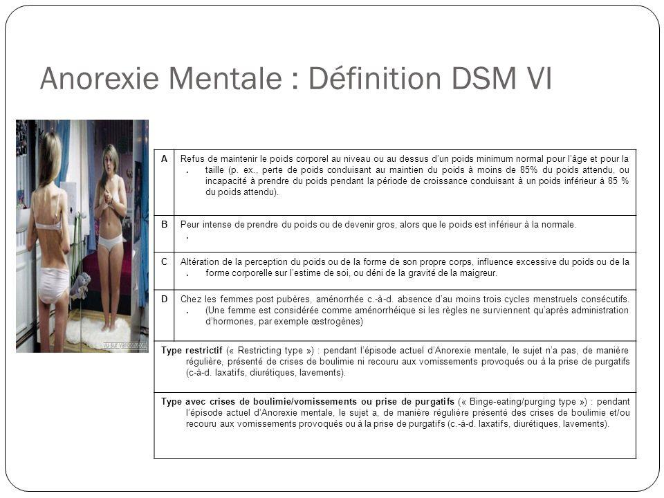 Anorexie Mentale : Définition DSM VI A.A. Refus de maintenir le poids corporel au niveau ou au dessus dun poids minimum normal pour lâge et pour la ta