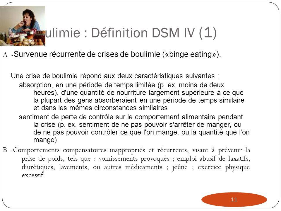 Boulimie : Définition DSM IV (1) 11 A - Survenue récurrente de crises de boulimie («binge eating»). Une crise de boulimie répond aux deux caractéristi