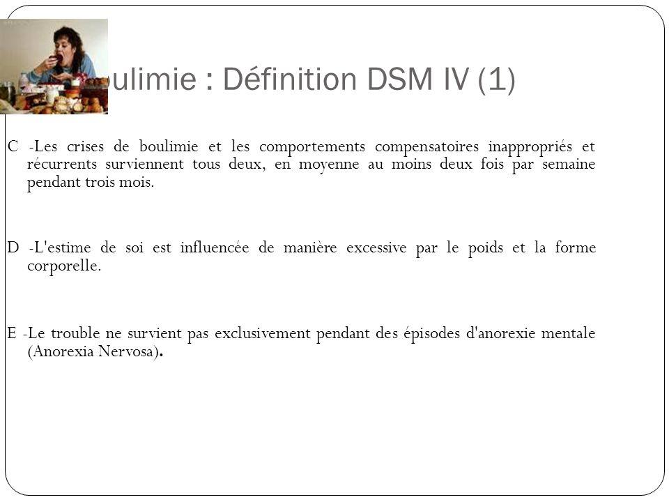 Boulimie : Définition DSM IV (1) C -Les crises de boulimie et les comportements compensatoires inappropriés et récurrents surviennent tous deux, en mo