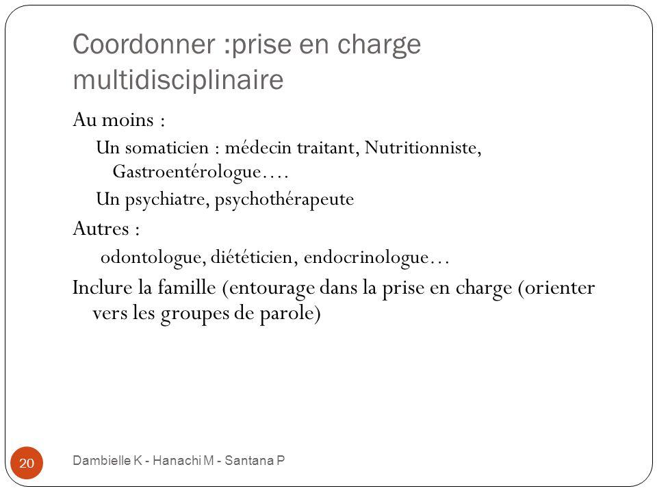 Coordonner :prise en charge multidisciplinaire Dambielle K - Hanachi M - Santana P 20 Au moins : Un somaticien : médecin traitant, Nutritionniste, Gas
