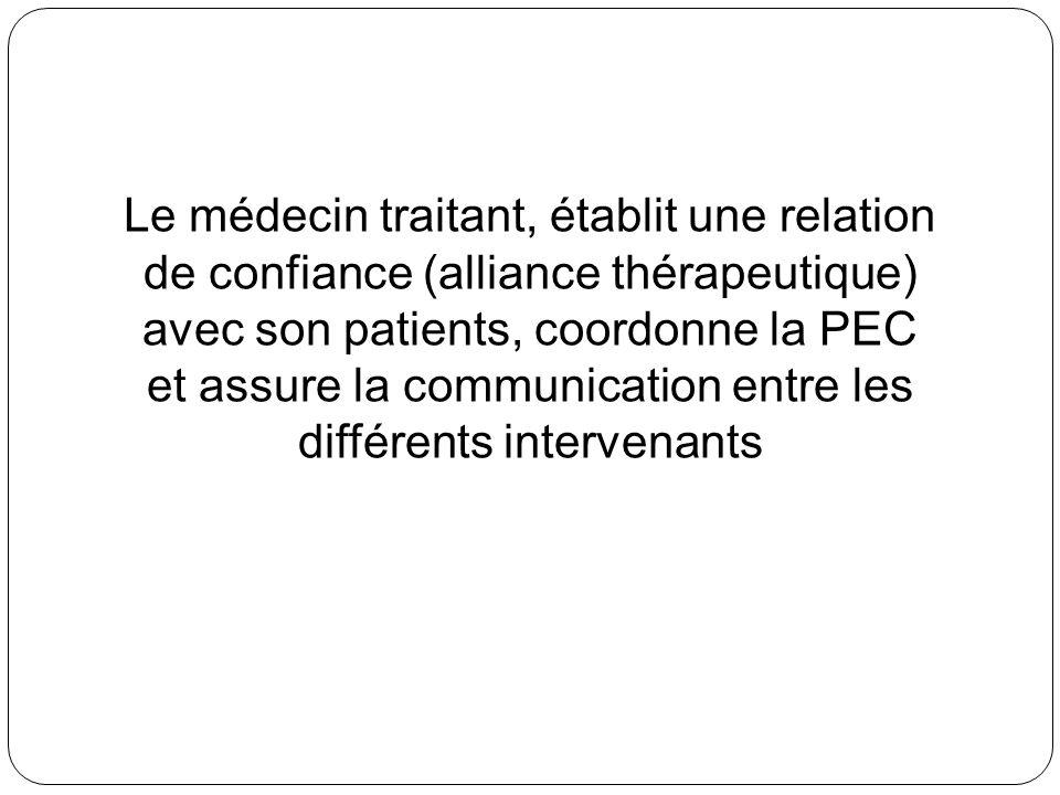 Le médecin traitant, établit une relation de confiance (alliance thérapeutique) avec son patients, coordonne la PEC et assure la communication entre l