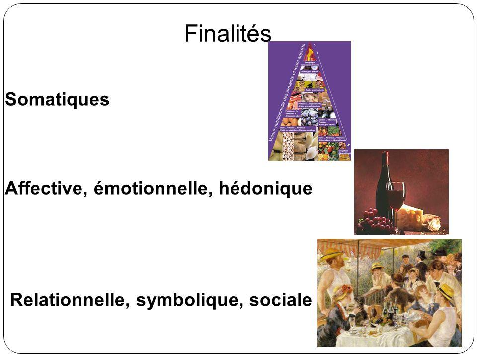 Finalités Somatiques Affective, émotionnelle, hédonique Relationnelle, symbolique, sociale