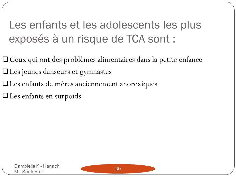 Les enfants et les adolescents les plus exposés à un risque de TCA sont : Dambielle K - Hanachi M - Santana P 30 Ceux qui ont des problèmes alimentair