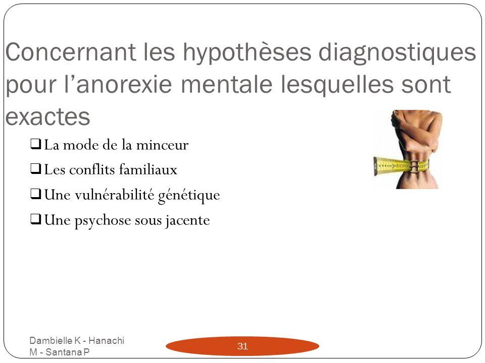 Concernant les hypothèses diagnostiques pour lanorexie mentale lesquelles sont exactes Dambielle K - Hanachi M - Santana P 31 La mode de la minceur Le
